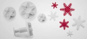 Découpoir flocon de neige avec poussoir (x3)