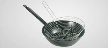 Poêle à frire en acier émaillé avec panier