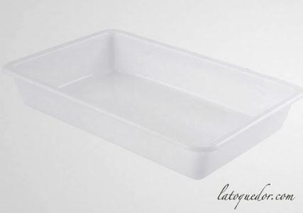 Bac alimentaire rectangulaire plat - BLANC
