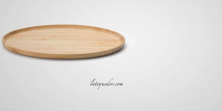 Plateau de service ovale bois d'hévéa