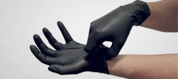 Gants nitrile noirs non poudrés jetables (x100)
