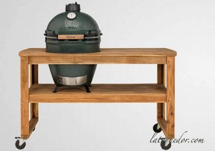 Table en cèdre acajou pour barbecue Big Green Egg
