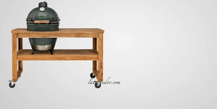 Table en bois d'acacia pour barbecue Big Green Egg