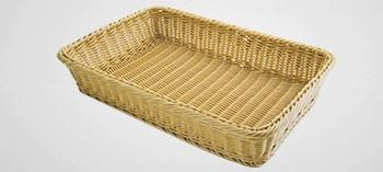 Panière à pain et viennoiserie rectangulaire en polypropylène beige