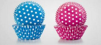 Caissette cupcake bleu et rose à points blanc